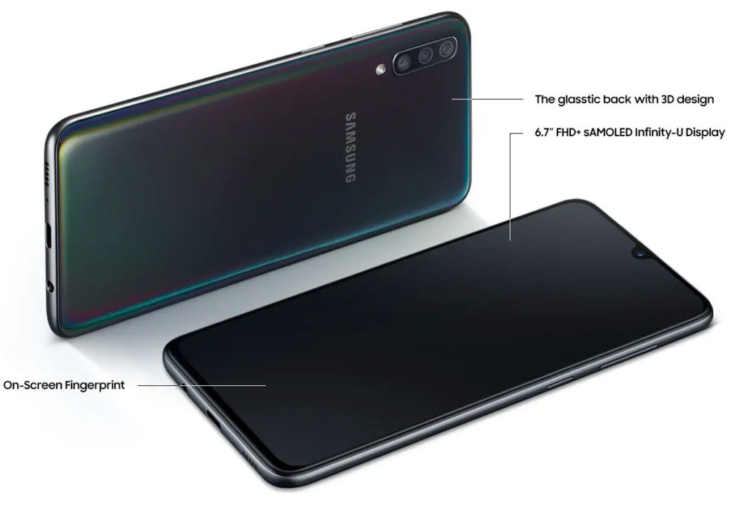 Samsung Galaxy A70 front and back