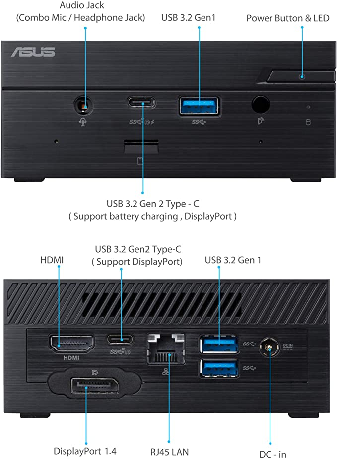 ASUS PN50 front and back ports on Amazon